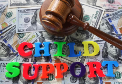 Child support text in toy letters with gavel and cash