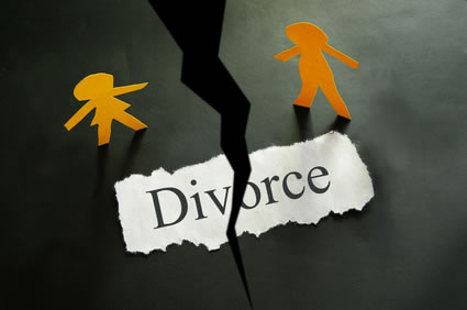 Divorce text on torn paper with paper cutout spouses on either side of tear